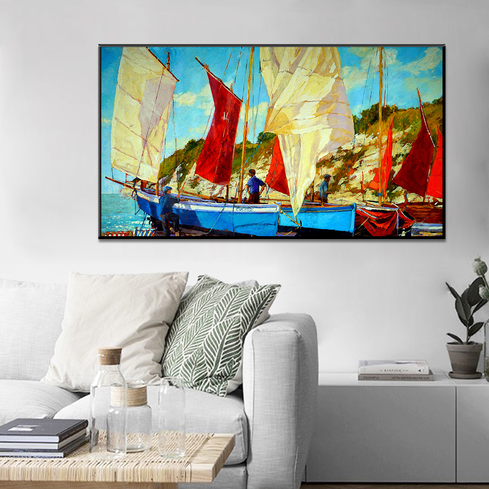 Unframed Canvas Art Oil Painting Sailboat On The Sea Print Painting Posters Wall Picture For Living Room Home Decor Dropshipping