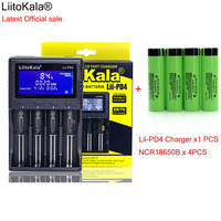 1pcs New LiitoKala lii PD4 LCD 3.7V 18650 21700 battery Charger+4pcs NCR18650B 3400mAh 3.7V Rechargeable battery For Flashlight