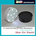 White/ Black Base 9pcs 4MM LEDs 3AA Battery Operated 4INCH LED Vase Light Base for Wedding Centerpiece Vase Lighting
