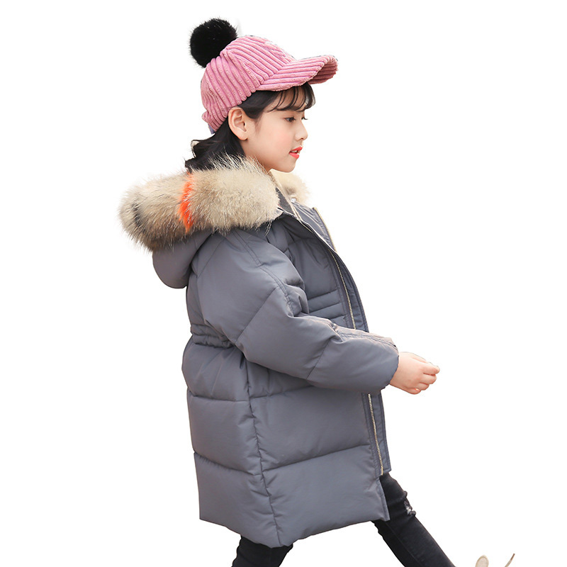 Teenage Girls Down Coats 2018 Winter Children Coat Long Hooded Warm Outwear Jacket White Duck Down Kids Coat RT139