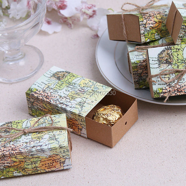 vintage wedding candy box kraft paper world map gift bag for wedding favors and gifts boxes