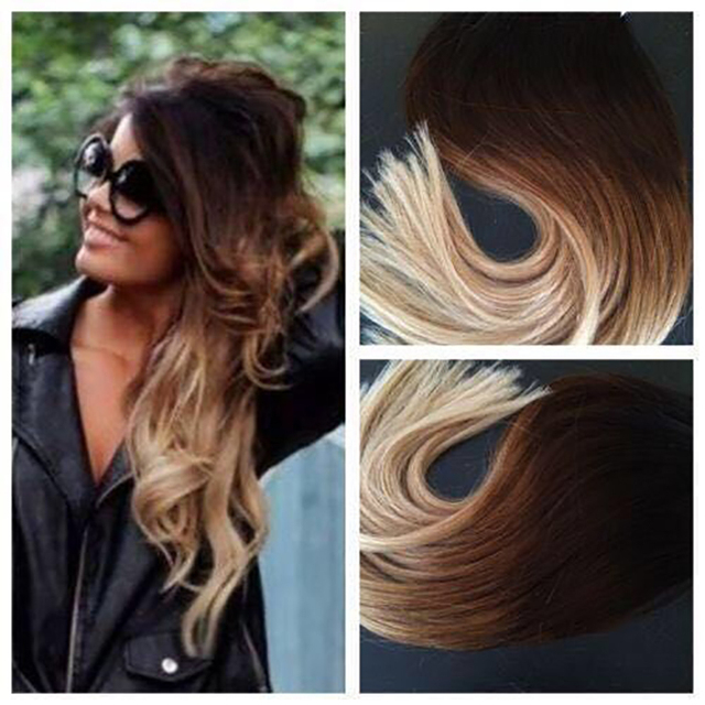 Tic Tac Brown Fade To Honey Blonde Balayage Russian Remy Clip In Human Hair Extensions Wavy
