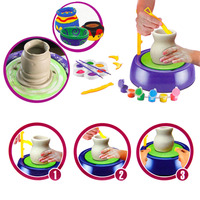 Children Craft Novelty Toys Ids Motorized Ceramic Pottery Wheel DIY Pottery Toy Pigment Device Educational For