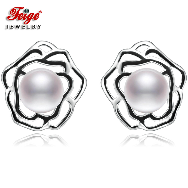 Feige 7 8mm Bread Shaped White Freshwater Cultured Pearls 925 Sterling Silver Stud Earrings For
