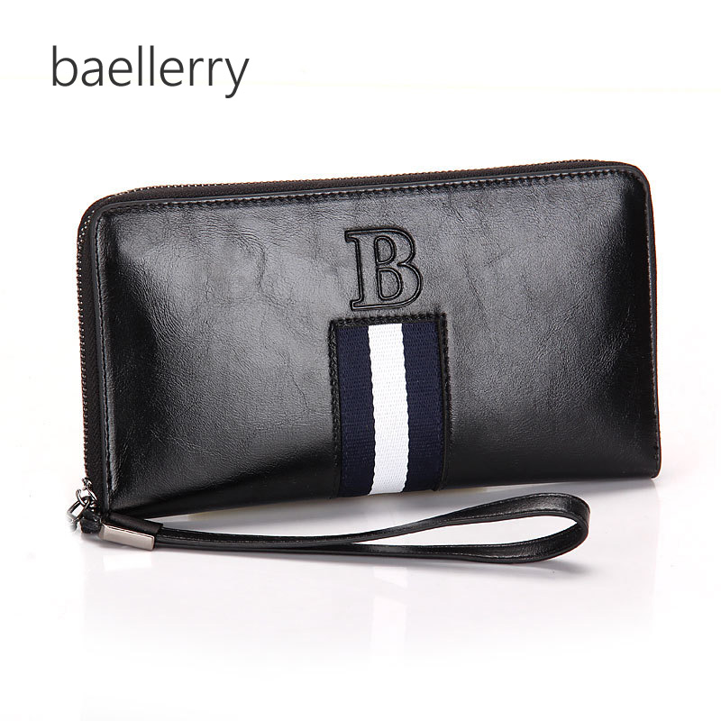 Mens' England Style Split Leather Wallet Male Large Zipper Clutch Purse Casual Wallet with Strap for Men
