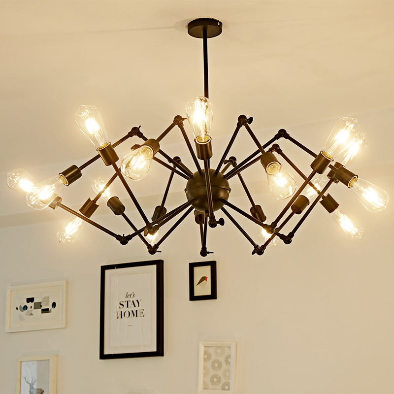 Led lamp American iron chandeliers lihgting decoration retro coffee restaurant guest Chandelier black wrought iron chandeliers