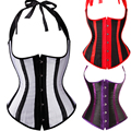 Gothic Satin Waist Trainer Cincher Corsets Bustiers Black/White/Red/Purple Striped Halter Boned Underbust Cupless Body Shaper