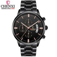 2017 New CHENXI Relojes Hombre All Black Steel Strip Men Watches Male Quartz Multifunction Chronograph Men