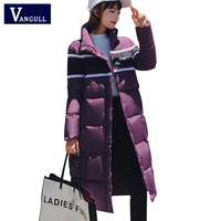 Winter Jacket Coat Women 2018 New Long Coats Striped Spliced Fashion Autumn Outerwear Female Letter Print Jackets Zipper Pocket