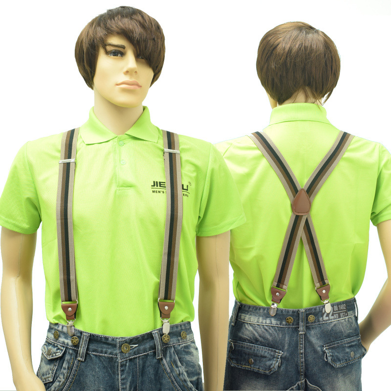 New Man's Suspenders 4Clips Brace Strap Fashion Suspensorio Adjustable Belt Ligas Tirantes For Father 3.5*120cm