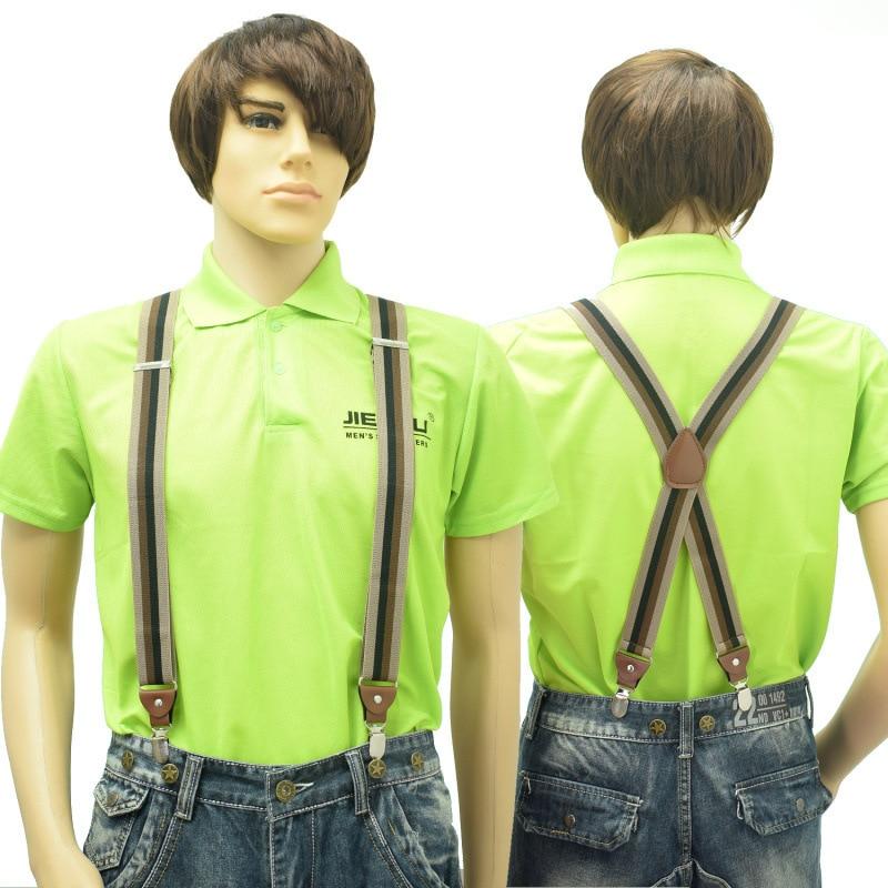 New Man's Suspenders 4Clips Brace Strap Fashion Suspensorio Adjustable Belt Ligas Tirantes For Father 3.5*120cm