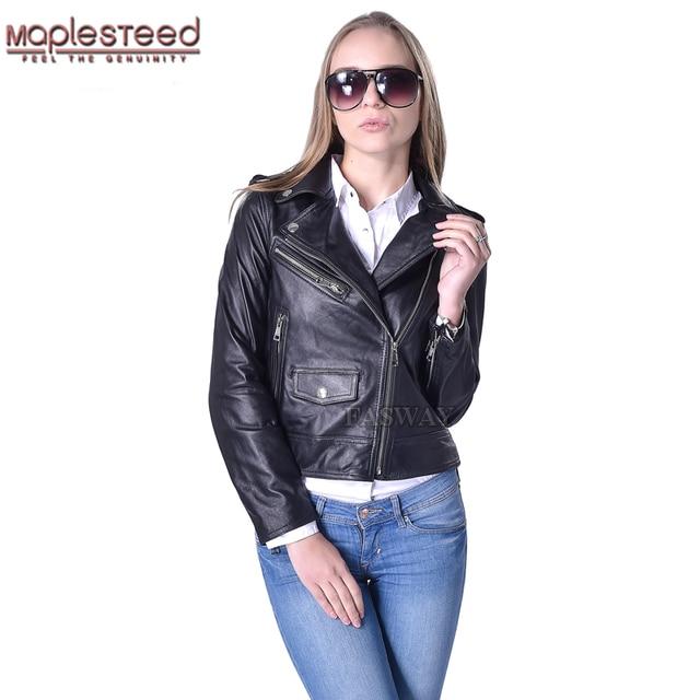 d44240c30c3 Factory Genuine Leather Jacket Women Leather Coat Real Sheepskin Lambskin  Soft Bomber Motorcycle Biker Women's Leather Coat F186