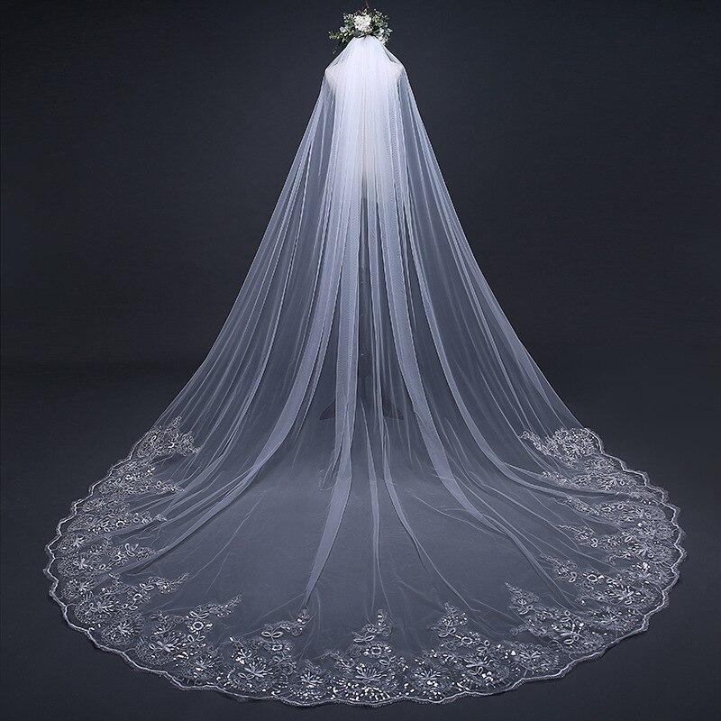 2019 élégant Super Long voile nouveauté traînant coréen paillettes dentelle 3 M cathédrale voiles de mariage avec peigne