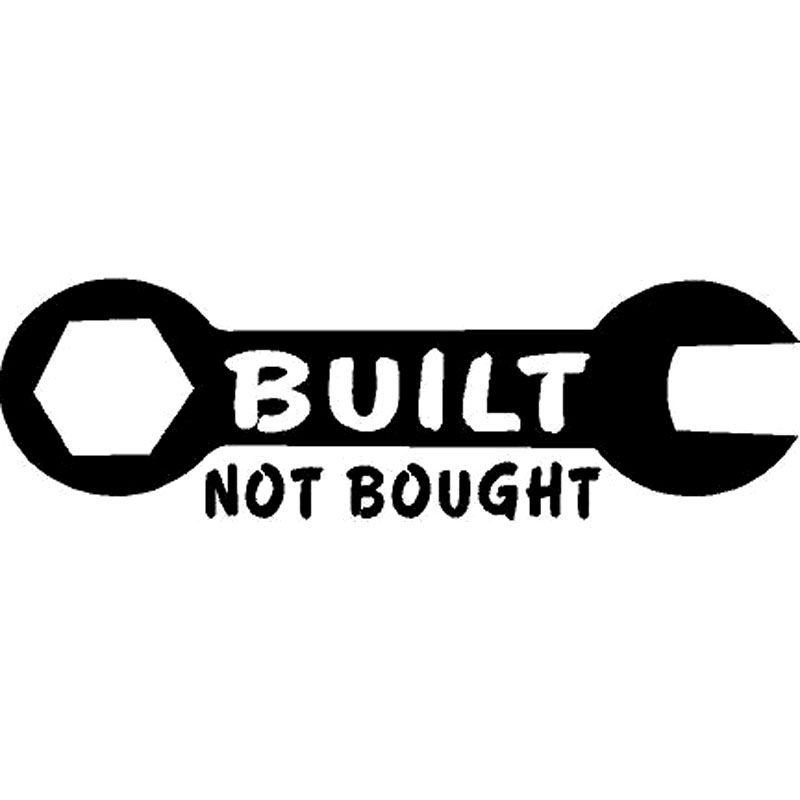 16.5CM*5.1CM Built Not Bought Wrench Truck Sticker Fun Decor Stickers Decal Car Sticker Car Accessories Black/Silver C8-0644