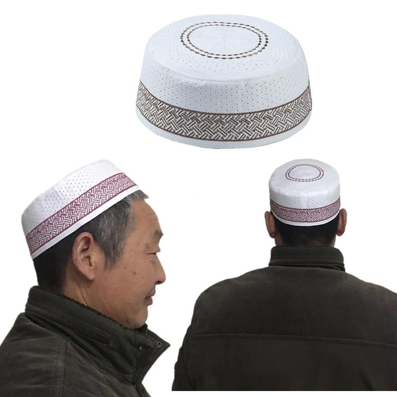1PCS Mens Turkish Muslim Skull Cap Islamic Arabic Hat Saudi Topi Prayer Namaz
