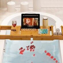 цены 2ASX Retractable Bathtub Rack Support Bamboo Bath Rack Antiskid Tub Caddy Tray Organizer Shelf Bridge Wine Glass Book Holder