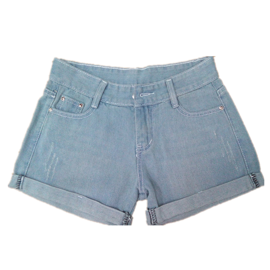 2016 spring and summer curling Women denim shorts casual loose large size Blue shorts Low Waist Ripped Lady Shorts Jeans S2078