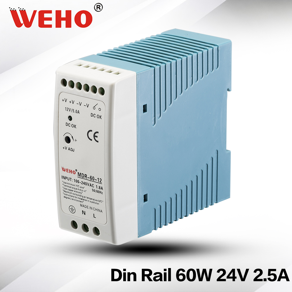 (MDR-60-24)CE ROHS 60w power supply input <font><b>ac</b></font> 85~264v <font><b>dc</b></font> <font><b>24v</b></font> mini <font><b>din</b></font> rail power supply image