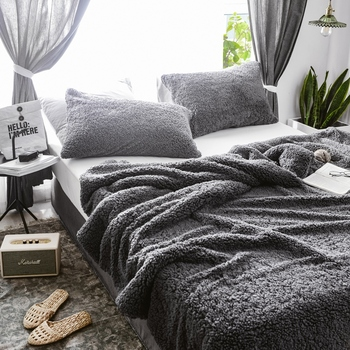 Juego de ropa de cama de franela gruesa de invierno funda de edredón + 2 fundas de almohada juegos de 3 piezas ropa de cama suave cálido Cordero Artificial de Cachemira