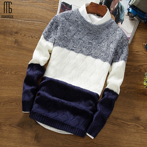 Manoswe Casual Long Sleeve Autumn Winter Sweater Men Korean Style Slim Knitted Blue Sweater Pullover Jumper Fashion Christmas(China)