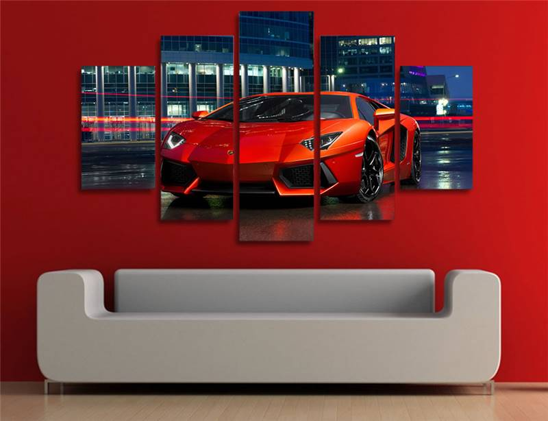 5ps Red Luxury Sports Car Painting Modern Living Room Home Decoration Module Poster Wall Art Canvas Printing Pictures drop ship