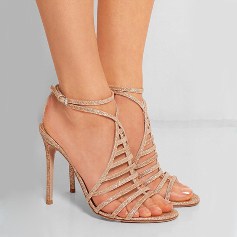Hot selling solid color multi strap crisscross high heel sandals fashion bling bling ankle buckle strap stiletto heel sandals
