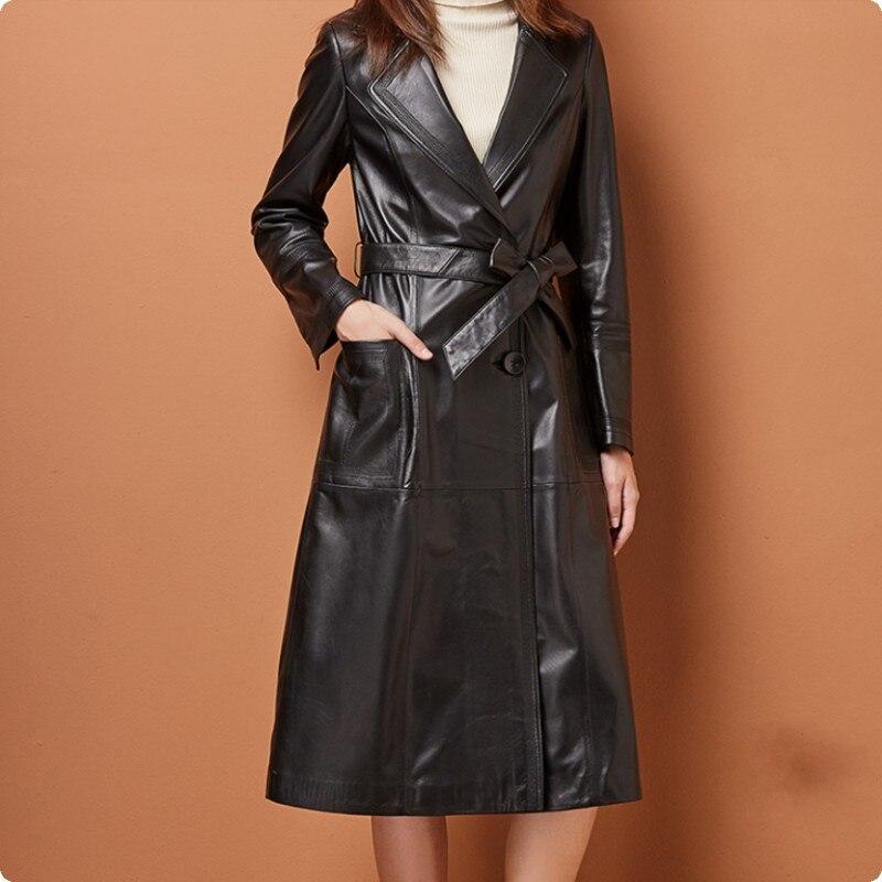 Taille Black Fit Chaqueta Long En Manteaux Femme Nouvelle Vestes Mouton Peau Cuero Manteau Ceinture Slim De Véritable Mode 2018 Plus Femmes Cuir La wHxBRPqP
