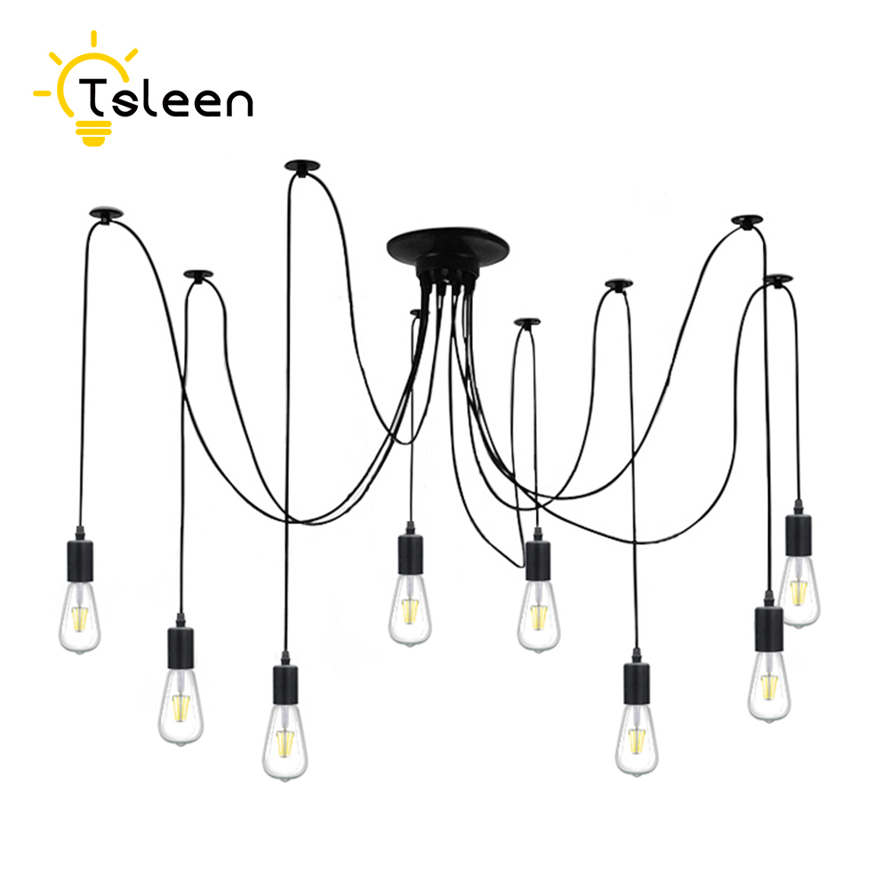 TSLEEN Free Shipping! E27 E26 LED Retro Pendant Lights 220V 110V Multiple Adjustable Loft Fixture Lighting+Edison Lamps Bulb tsleen free shipping vintage loft nordic classic e27 e26 led retro edison bulb pendant lights ceiling golden light fixtures