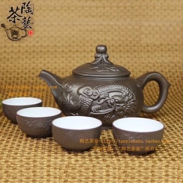 5 ədəd / dəst Çin çini gil Kung Fu dəsti çaydanı 1 Çay qazanı + 4 stəkan çaydanı infuser Çay Mərasimi Hədiyyə Çatdırılma
