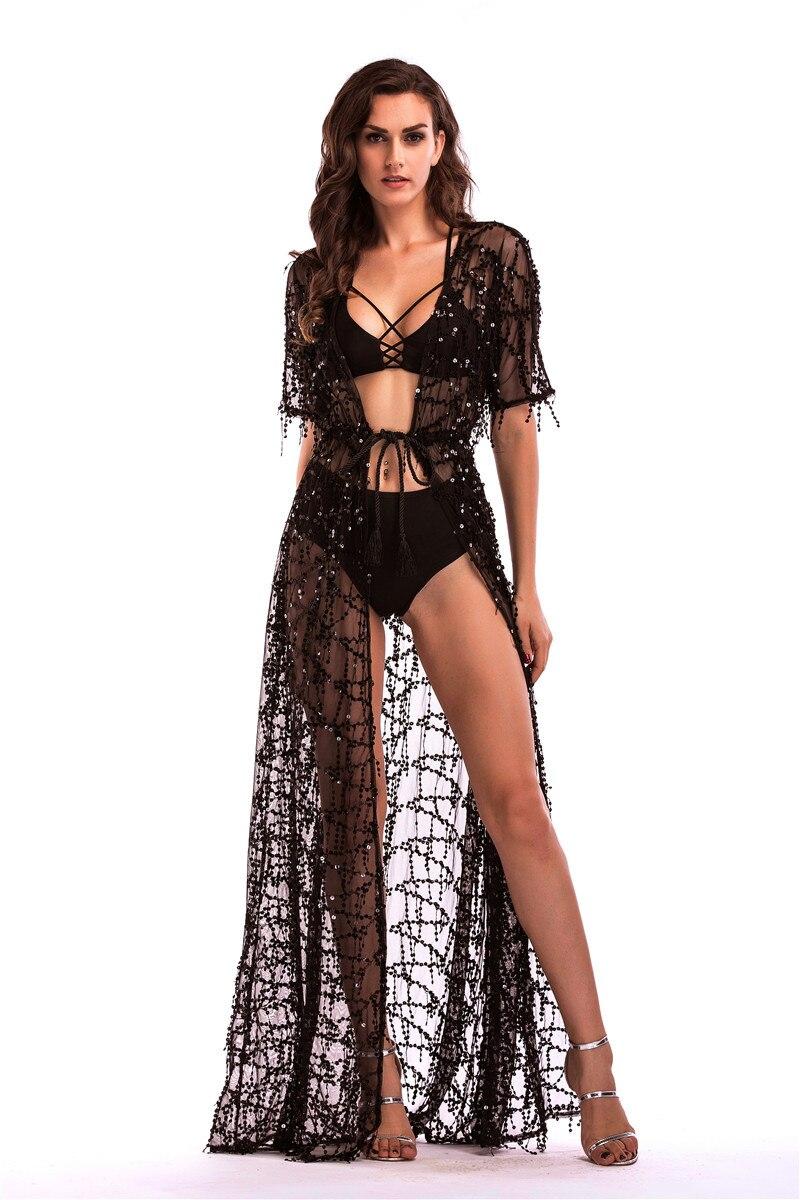 Langes Kleid Frauen Luxus Pailletten Quaste Bodenlangen Kleid Sexy ...