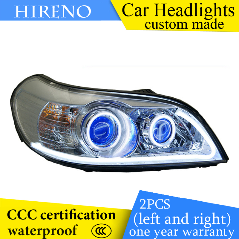 Hireno custom Modified Headlamp for Chevrolet Epica 2007-13 Headlight Assembly Car styling Angel Lens Beam HID Xenon 2 pcs hireno headlamp for cadillac xt5 2016 2018 headlight headlight assembly led drl angel lens double beam hid xenon 2pcs
