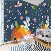 Free shipping large mural wallpaper space universe blue children's room bedroom backdrop wallpaper 3D wallpaper custom sizes