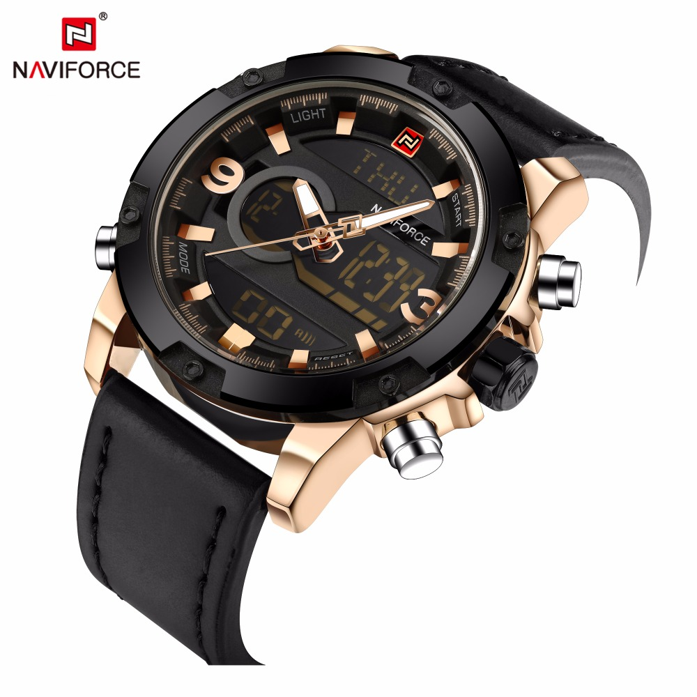 NAVIFORCE Mens Watches Top Brand Luxury Men Analog Digital Leather Sports Watches Quartz Military Watch Man Clock Montre Homme naviforce watch men top brand luxury gold stainless steel army military quartz wristwatches clock male sports watch montre homme