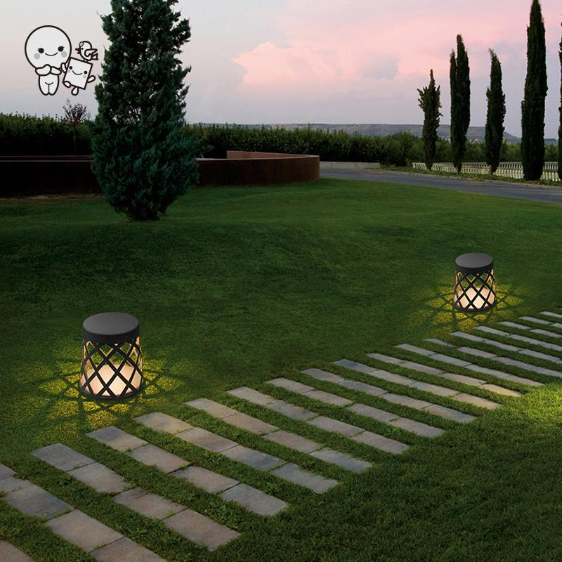 Extérieur gris aluminium tabouret LED pelouse lampe luminaire Art contemporain petit debout lumière Design pour Villa jardin cour voie