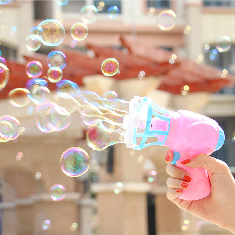 Summer Fun Bubble Blower Machine Toy Kids Soap Water Bubble Gun Family Games Electric Manual Gun Blower Toys For Children Gift