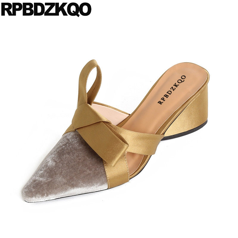 Gold Pumps Heels Pointed Toe Velvet Bow Shoes Runway Size 4 34 Golden Women Mules Slipper High Gray Thick Multi Colored Sandals подвесной светильник ambiente by brizzi lugo 8539 wp