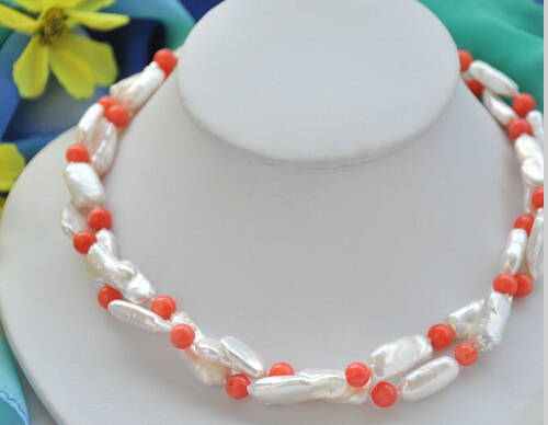 CBN323 Beautiful 2Strds 20mm WHITE DENS BIWA PEARL PINK CORAL bead NECKLACE 19inch