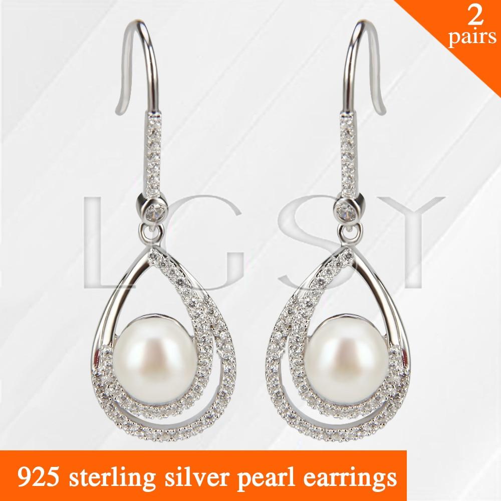 купить LGSY 2pairs Fashion nice design 925 sterling silver girl jewelry Twins Oval shape pearl earring по цене 3916.66 рублей