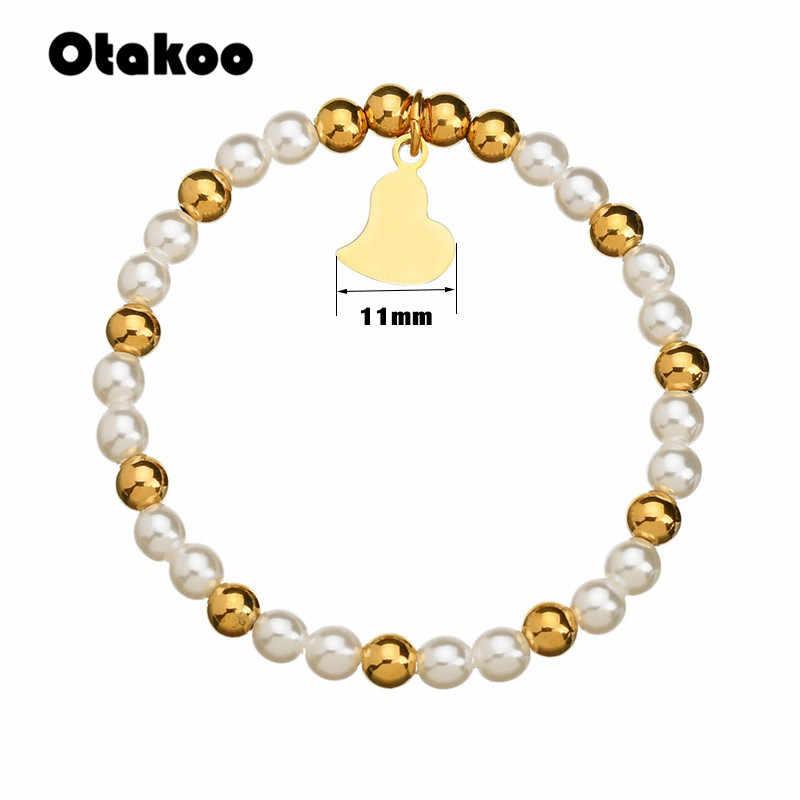 Otakoo harms heart bracelet& bangles beads femme gifts for women female stainless steel jewelry braslet Gold Color gift