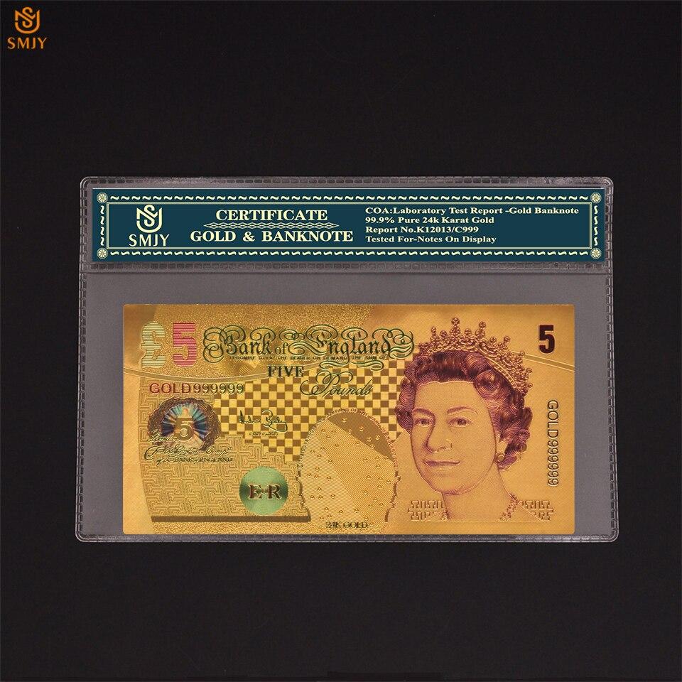 Set de papel de moneda de varios colores, colección de billetes de oro de 5 libras, para decoración con COA
