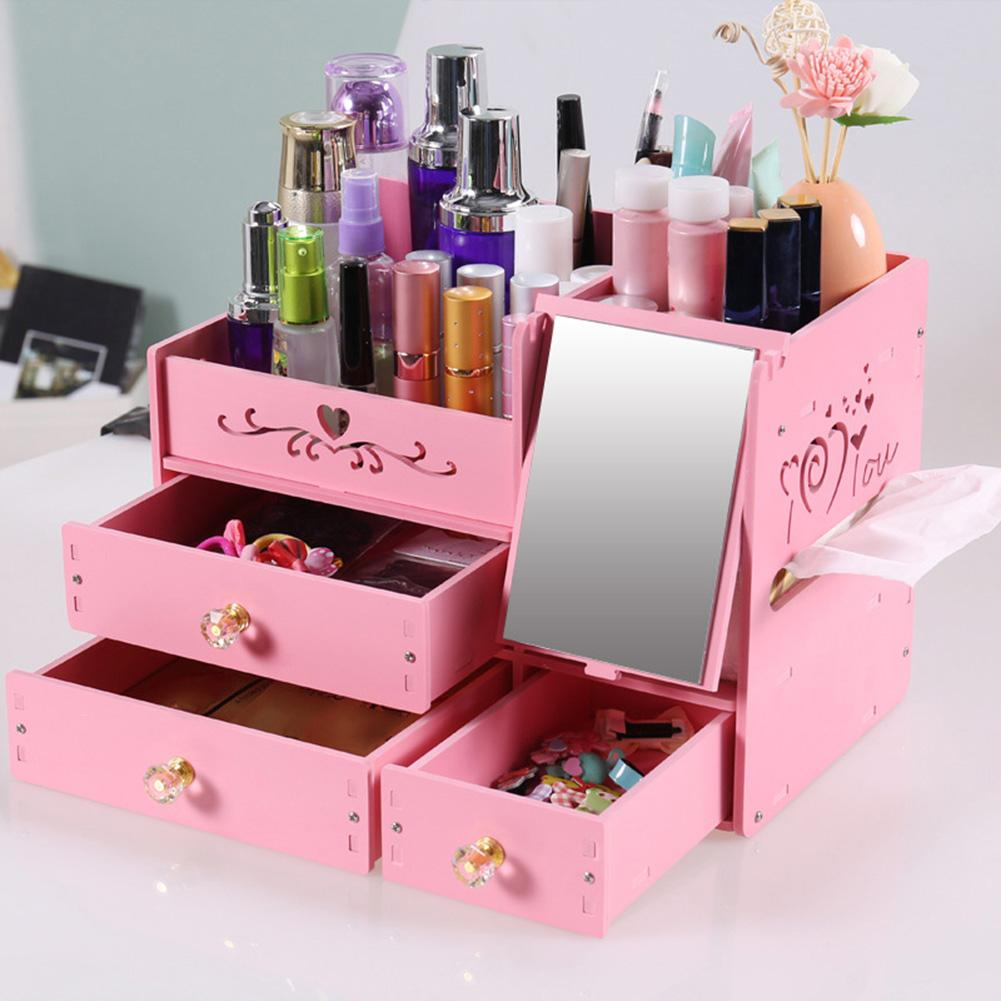 Desktop Cosmetic Storage Box Drawer Mirror Container Makeup Jewelry Organizer UsefulDesktop Cosmetic Storage Box Drawer Mirror Container Makeup Jewelry Organizer Useful