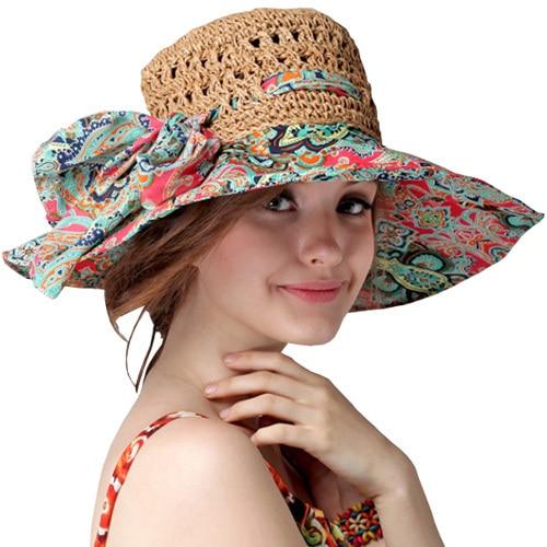 Fashion Sun Hat Women Summer Straw Hats Printing Adjustable Ecology cap  Foldable Women Beach Headwear Top Quality d3e696e257e4