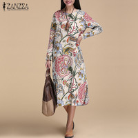 ZANZEA Vintage Women Pullover Loose Dress Casual Long Sleeve O Neck Dresses Robe Plus Size Cotton
