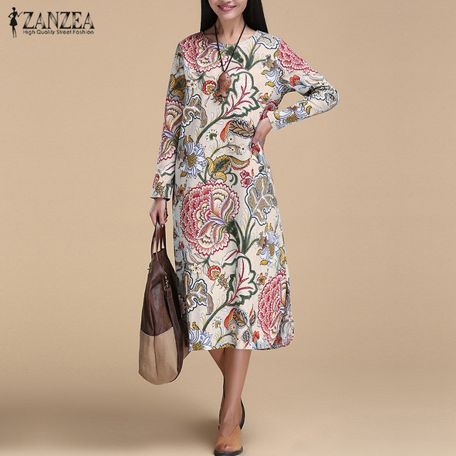 bf77f66a4ac ZANZEA Vintage Women Pullover Loose Dress Casual Long Sleeve O Neck Dresses  Robe Plus Size Cotton Spring Autumn Dress Vestidos-in Dresses from Women s  ...