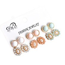 New beautiful women fashion wholesale girls birthday party white blue pink ear nail 6 pairs/set earrings agent shipping