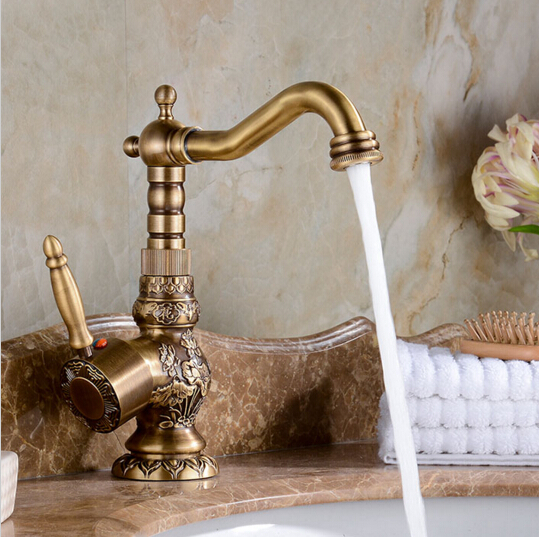 High Quality Luxury antique bronze copper carving Deck mounted kitchen faucet Bathroom basin faucet sink Faucet Mixer Tap цена