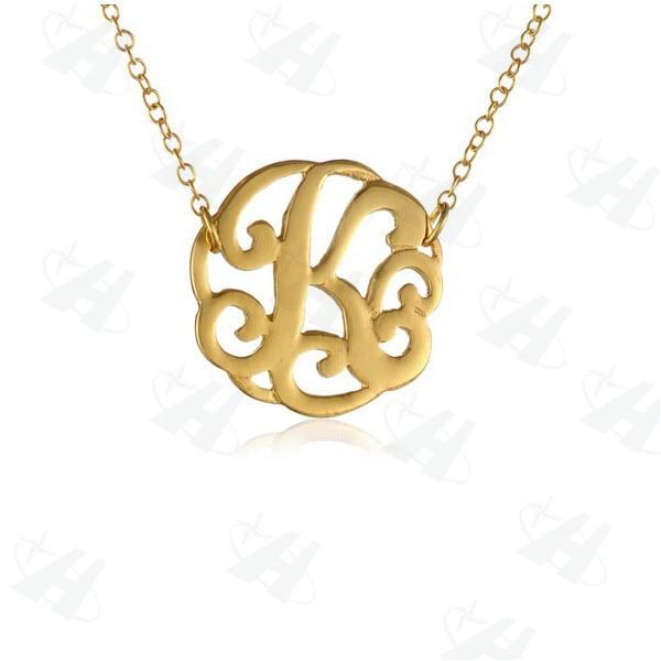 Gold monogram pendant necklace bangle and bracelets por monogram necklace pendant aloadofball Gallery