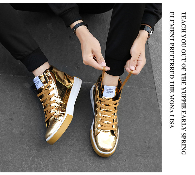2018 Men leather casual shoes hip hop Gold fashion sneakers silver microfiber high tops Male Vulcanized shoes sizes 46 2