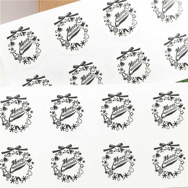 100Pcs 3.5X3.5cm White Brown Kraft Sticker Labels Bow-knot Merry Christmas Pattern Cute for Kids Play and Stationery Stickers