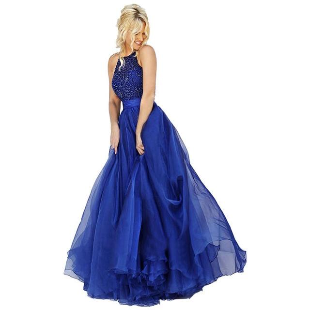 long vintage royal blue prom dresses sexy plus size luxury beading